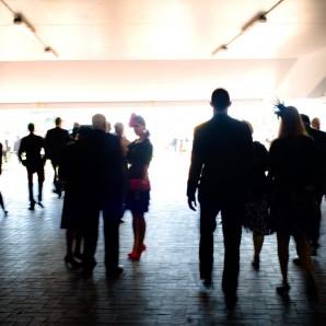 Spectators enter the hippodrome in the morning.