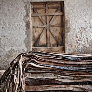 Raw leather is stored in warehouses before being processed.