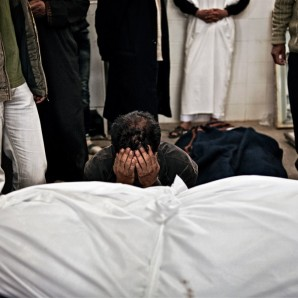 A man mourns for his son who died during the fighting in Benghazi.