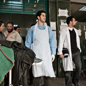 Doctors waiting for injured people.