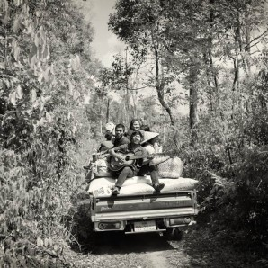 Farmers head back to the village with the harvested coffee.